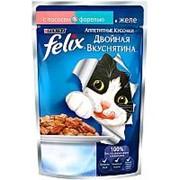 Felix 85г пауч Двойная вкуснятина Влажный корм для взрослых кошек Лосось и форель (желе) фото