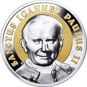 Святой Иоанн Павел II. Серебряная монета с высоким рельефом и позолотой фото