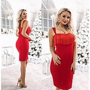 Платье женское с бахромой ТК/-3044 - Красный фото