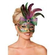 Карнавальная маска с бантом и перьями S-801 фото