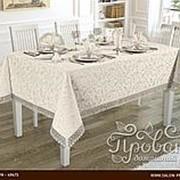 Скатерть прямоугольная с салфетками, кольцами Karna KDK жаккард кремовый 160х300 фото