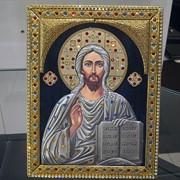 Икона Иисус с позолотой в серебре фото