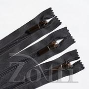 Молния пластиковая, черная, бегунок №71 - 30 см фото