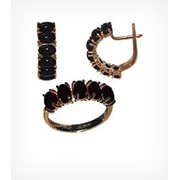 Кольцо и серьги с чёрным кораллом Золото 585, арт. 11084, 11184 фото