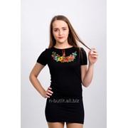 Женская вышитая футболка. Западный мак, черная 58 фото