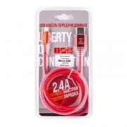 USB кабель «LP» Micro USB «Змея» LED TPE (красный/блистер) фото