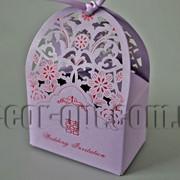 Бонбоньерка сумочка вырубка фиолетовая 7,5х4,5х11см 570784 фото