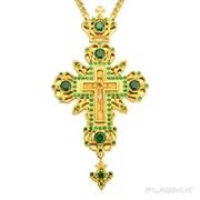 Крест для священнослужителя из ювелирного сплава с латунным принтом позолоченный 2.10.0024лп-2 фото