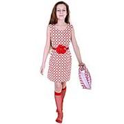 Трендовый сарафан белого цвета с красным поясом 122 фото