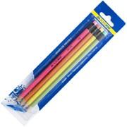 Набор: 4 графитовых карандаша НЕОНс ластиком BM.8521 Buromax фото