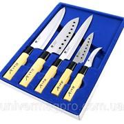 Набор из 5 сверх острых ножей Gold Sun + магнитная рейка фото