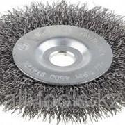 Щетка Зубр Эксперт дисковая для точильно-шлифовального станка, витая стальная проволока 0.3 мм, 100/12.7мм Код:35185-100_z01 фото