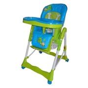 Стульчик RT-002-4, зелено-голубой, для кормления с корзиной, на колесиках, Стульчики для кормления фото