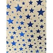 "Упаковочная бумага Феникс ""Синие звёзды"",1 лист 70 х 100 см.,80 г/м2, крафт, фольгир.тисн., 76682 фото"