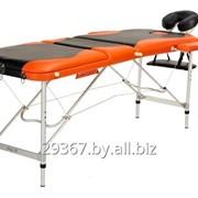 Складной 3-х секционный алюминиевый массажный стол BodyFit, черно-оранжевый фото