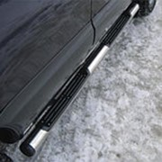 Пороги Mitsubishi Pajero Sport 2010-2012 (вариант 2 труба с накладками 76 мм) фото