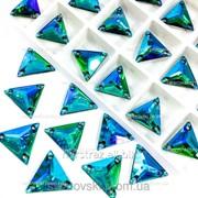 Пришивные треугольники (синтетич. стекло). Цвет Emerald AB 16x16*1шт фото