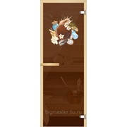 Дверь для бани Арт-серия (AJIO) 7х19 (8мм) с рисунком: коробка -осина/липа: Композиция фото