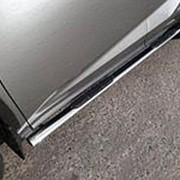 Пороги Lexus NX 300/300h/200/200t 2014-наст.время (труба овал с накладкой 75х42 мм) фото