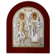 Икона Архангелы Михаил и Гавриил серебряная с позолотой на деревянной основе Silver Axion 85 х 100 мм фото