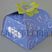 Бонбоньерка с цветком голубая 6,5х6,5х6,5см 570792 фото