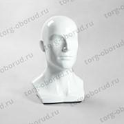 Манекен голова мужской для шапок, пластиковый. Г-402(бел) фото