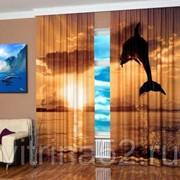 "Фотошторы ""Дельфин на закате"" фото"