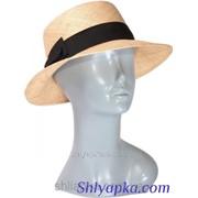 Шляпа соломенная с темной лентой 38/07-1 фото