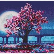 Схема Ночная сакура (полная вышивка) фото