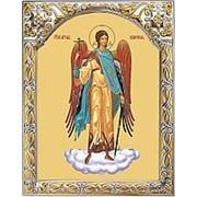 Храм Покрова Богородицы Ангел-хранитель, икона на сусальном золоте в серебряном окладе с позолотой Высота иконы 12 см Арочный оклад фото