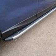 Пороги Subaru Forester 2013-2018 (алюм. с пласт. накладкой карбон/серые) фото