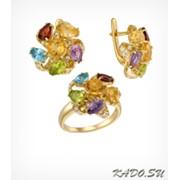 Кольцо и серьги с цветными природными камнями, арт. 1524 фото