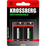 Перезаряжаемые батарейки Krossberg Rechargeable - 9V size фото