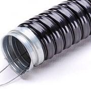 Металлорукав изолированый чорный с протяжкой 220 d 20 (25м) фото