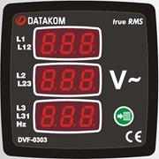 DATAKOM DVF-0303 Вольтметр-частотомер, 3 фазы, 72x72mm, 3 дисплея фото