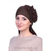 """Шапка """"цветы"""" шоколадная с золотом 40/20-1 фото"""