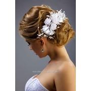 Венок свадебный №81, белый /лотос, лента атлас/ фото