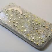 Чехол на Айфон 6/6s Пластик и силикон Блестки Месяц и звезды Серебро фото