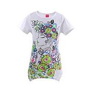 Эффектная футболка белого цвета с коротким рукавом №8289 6 фото