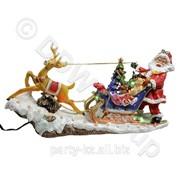 Декорация Дед Мороз с оленьей упряжкой 31.5x9x18cм LED фото