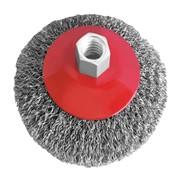 Щетка конусная 100 мм, для УШМ, М14 (витая проволока) INTERTOOL BT-5100 фото