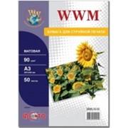 Фотобумага WWM матовая, А3, 90g/m, 50л. фото