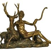 """Бронзовая статуэтка """"Богиня охоты Диана и Олень"""" фото"""