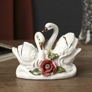 """Сувенир """"Два лебедя с розой"""" страза 8х10,5х4 см фото"""