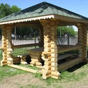 Альтанка деревянная с оцилиндрованного бруса смерека под заказ 3*4м фото