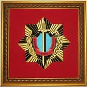 Вышитый логотип (герб) в рамке (20 см Х 20 см) фото