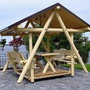 Беседка деревянная, оцилиндрованный брус фото