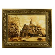 Картина из янтаря Пейзаж. Церковь фото