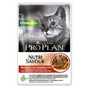 Корм для котов Pro Plan NutriSavour Sterilised паучи для кошек с говядиной в соусе фото