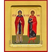 Храм Покрова Богородицы Кир и Иоанн, святые мученики, икона на сусальном золоте (гладкий МДФ 6 мм без ковчега) Высота иконы 10 см фото